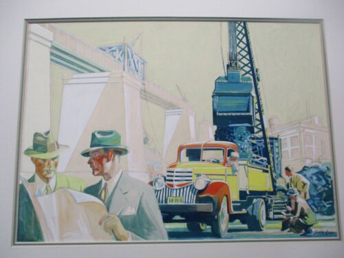ANTIQUE WPA AMERICAN REGIONALISM INDUSTRIAL MACHINERY PAINTING CLASSIC TRUCK