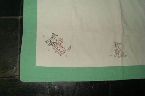 Vintage Retro 60s Kitsch Cotton/Linen Handmade Tablecloth-Embroidered Dogs-Prop