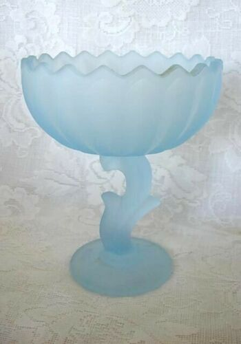 Collectible Vintage Blue Lotus Blossom Satin Glass Footed Bowl / Compote