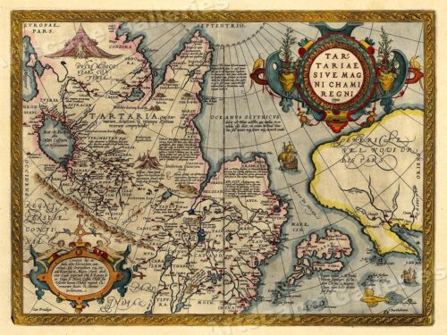 1570 China Japan America Unusual Historic Map - 24x32