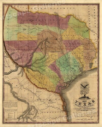 1830s Historic Map of The Republic of Texas by Stephen F Austin - 24x30