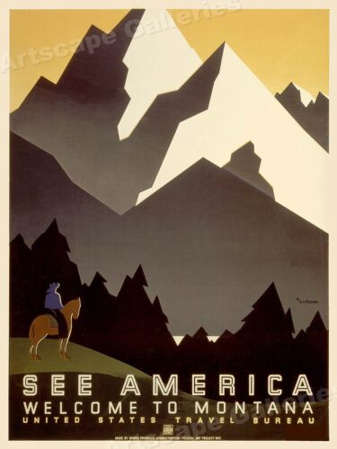 1930s See America! Welcome to Montana Vintage Style Travel Poster - 24x32
