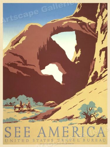 See America 1930s Arches National Park WPA Travel Poster - 18x24