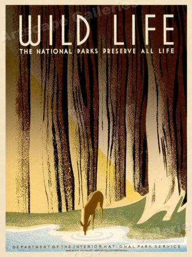 1940 Wild Life National Parks Vintage Style WPA Travel Poster - 24x32
