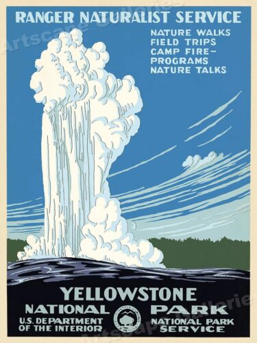 Yellowstone 1938 National Park Service WPA Ranger Naturalist Travel Poster 18x24
