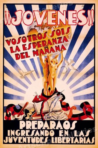 """Jovenes!""  You are the Hope of Tomorrow! 1936 Spanish Civil War Poster - 24x36Art Posters - 28009"