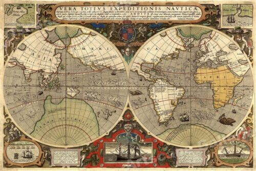 1595 Old World Exploration Vintage Map Poster - Sir Francis Drakes Voyages 16x24