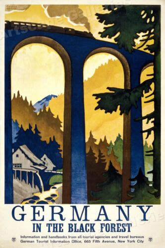 1930s Visit Germany Black Forest Vintage Style Travel Poster - 20x30