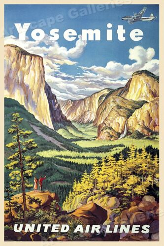 1945 United Airlines Yosemite National Park Travel Poster - 24x36