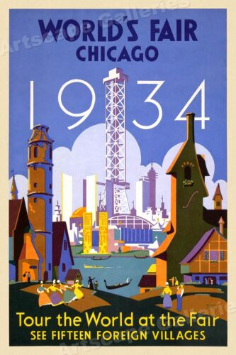 1930s Chicago Worlds Fair - Foreign Villages Vintage Style Travel Poster - 16x24