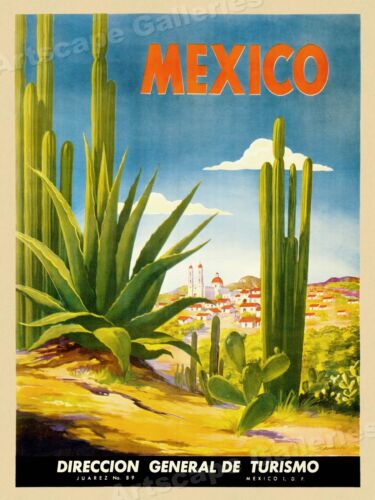 Visit Mexico 1930s Tourism Vintage Style Travel Poster - 20x28