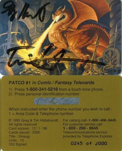 Hildebrandt Brothers LOTR Autographed Smaug Phone Card
