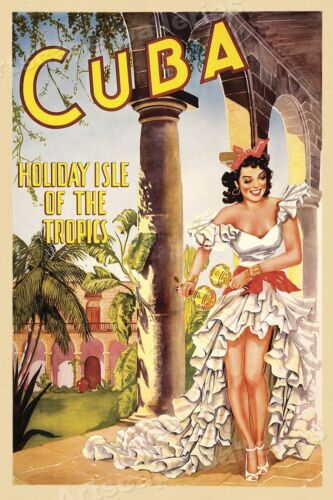 1940s Cuba Holiday Isle Classic Cuban Vintage Style Travel Poster - 20x30