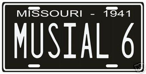 """Stan """"The Man"""" Musial St. Louis Cardinals Rookie 1941 License plate"""