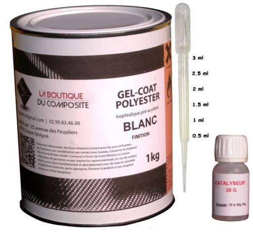 GEL COAT BLANC POLYESTER ISO. MARINE. 1kg. + catalyseur & pipette doseuse.