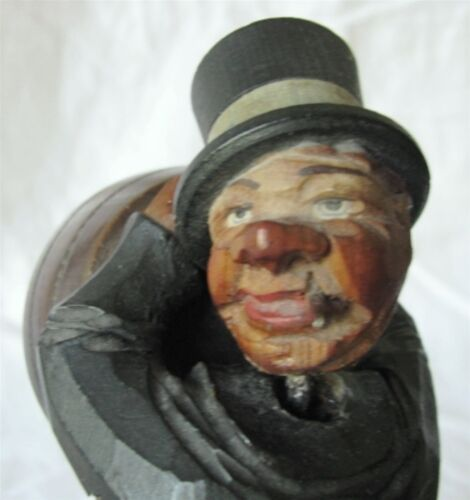 ANTIQUE FOLK ART BOBBLE HEAD HAND CARVED CIGARETTE CASE DISPENSER WC FIELDS MAN