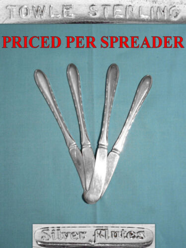 TOWLE STERLING FLAT HANDLE BUTTER SPREADER(S) ~ SILVER FLUTES ~ NO MONO