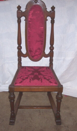Walnut Gothic Carved Sidechair / Entry Chair-red damask  (SC56)