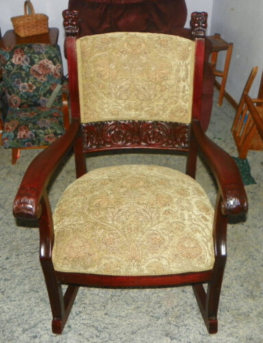 Solid Mahogany Carved Griffon Rocker / Rocking Chair  (R88)