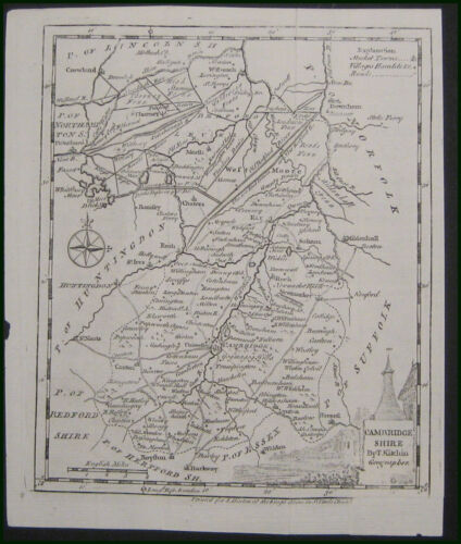 1747 Thomas Kitchin Map British County Cambridge Shire