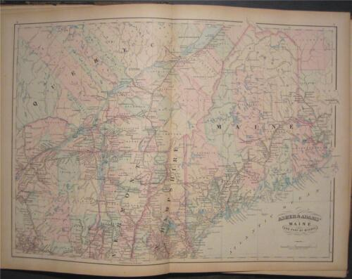 1872 Original Asher Adams Map of Maine ME Quebec Canada