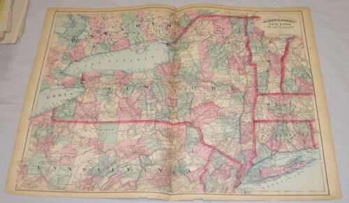"""1874 MAP of NEW YORK, by ASHER & ADAMS/17x24"""""""