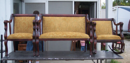 Mahogany Empire Lion Carved Parlor Set-Settee / Chair