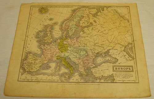 1831 Olney COLOR MAP of EUROPE
