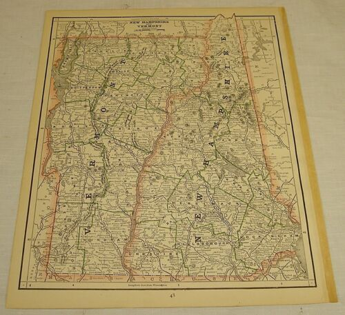 c1887 COLOR MAP of VERMONT & NEW HAMPSHIRE