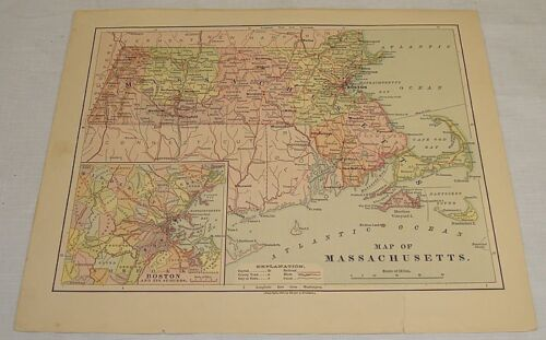 1876 COLOR MAP of MASSACHUSETTS