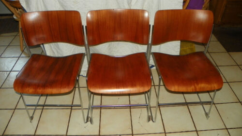 Set of 3 Rosewood GF Business Stackable Chairs  (SC112)