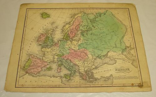 c1835 Smith Atlas Antique Color Map of EUROPE