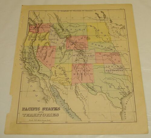 1880 Warren Antique Color Map of PACIFIC STATES and TERRITORIES