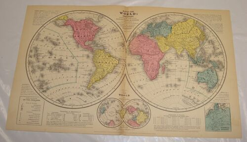 """1854 Smith's Antique Color Map of WORLD (With a """"Ton"""" of Additional Information)"""