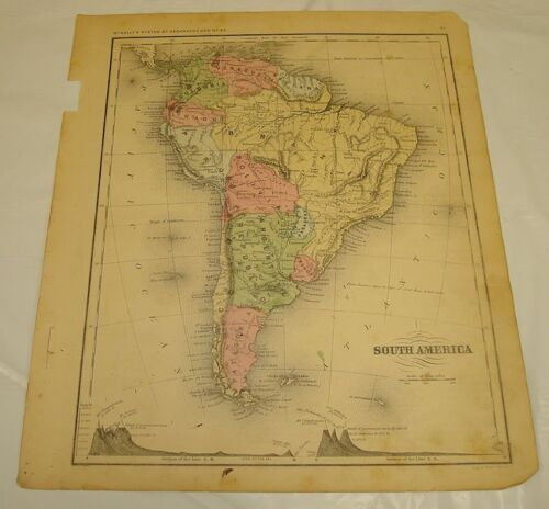 1869 McNally Antique Color Map of SOUTH AMERICA