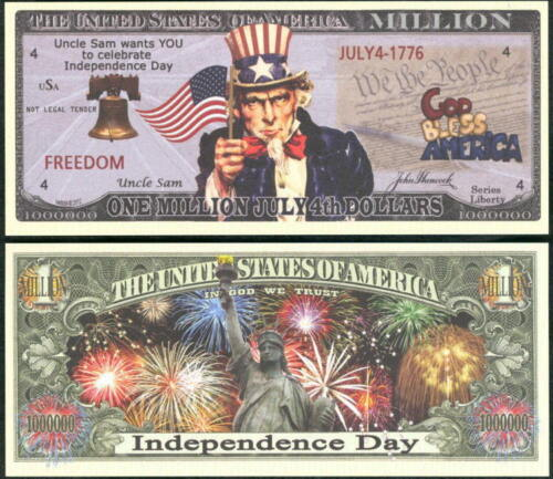 Lot of 500 BILLS-JULY 4TH, INDEPENDENCE DAY MILLION DOLLAR NOVELTY BILL