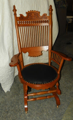 Oak Carved Spindle Back Rocker Rocking Chair with black leather seat  (R124)