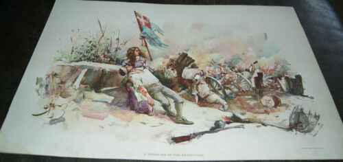 Antique Lithograph - A Daughter Of The Revolution by Charles Johnson