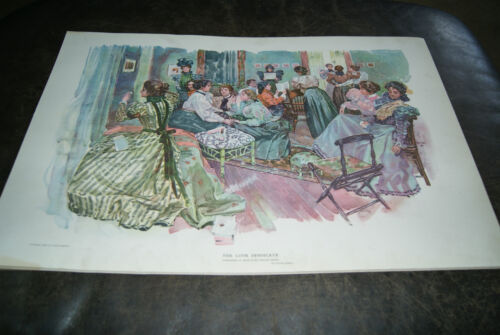 Antique Lithograph - The Love Syndicate by Orson Lowell 1897 Victorian Ladies