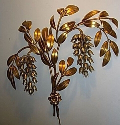 Vintage Italy Gilt and Silver Flower Wall Lamp Big Hans Koegl #<