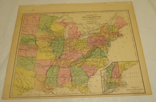 1871 WARREN Antique Map/UNITED STATES RAILROAD ROUTES/Hand-Colored