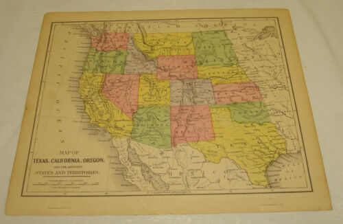 1871 WARREN Antique Map/FAR WESTERN STATES of USA/Hand-Colored