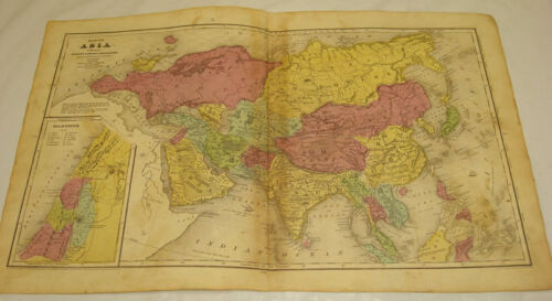 1844 OLNEY Antique Map/ASIA/Hand-Colored