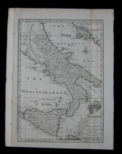 1747 Original Antique Map Kingdom of Sicily Naples Southern Italy Emanuel Bowen