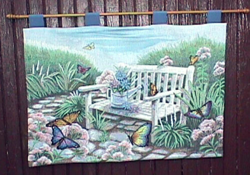 Vintage BUTTERFLY WALL TAPESTRY & ROD 25 BY 36 INCHES BEAUTIFUL HANGING DISPLAY