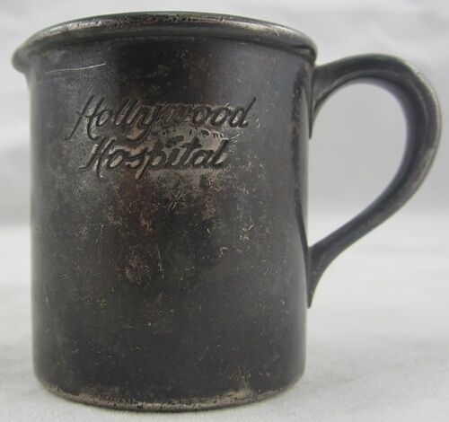 Antique CREAMER HOLLYWOOD HOSPITAL Silver Soldered Coffee Service 2 Ounce Pour