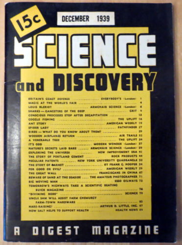 December 1939 Science and Discovery Magazine