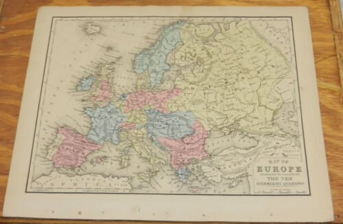 1870 Mitchell Antique COLOR Map of EUROPE/Hand-Colored