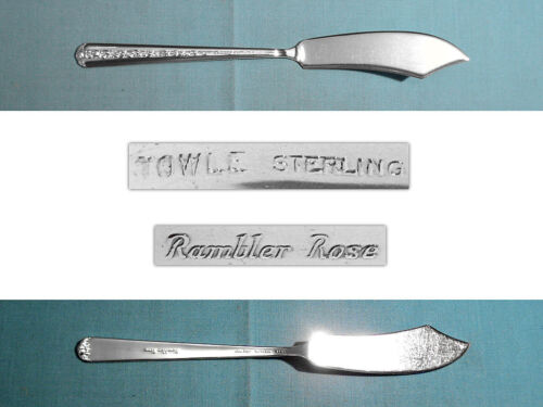 TOWLE STERLING FLAT HANDLE MASTER BUTTER KNIFE ~ RAMBLER ROSE ~ NO MONO