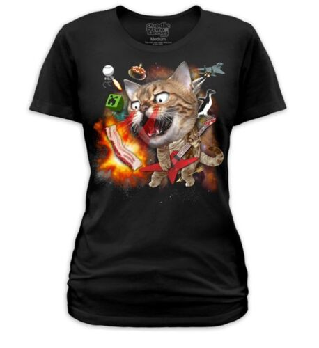 Goodie Two Sleeves Internet Cat Meme Bacon Laser Arrow Black Fitted Tshirt
